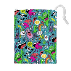 Monster Party Pattern Drawstring Pouches (Extra Large)