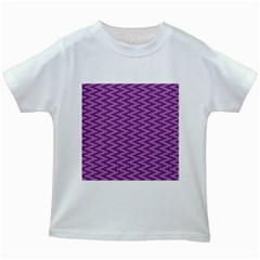 Zig Zag Background Purple Kids White T-Shirts