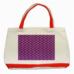 Zig Zag Background Purple Classic Tote Bag (Red)
