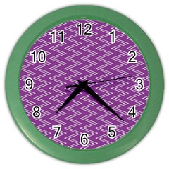 Zig Zag Background Purple Color Wall Clocks