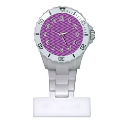 Zig Zag Background Purple Plastic Nurses Watch