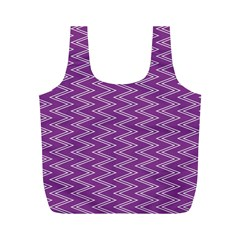 Zig Zag Background Purple Full Print Recycle Bags (M)