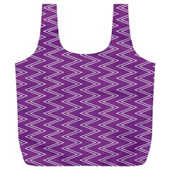 Zig Zag Background Purple Full Print Recycle Bags (L)