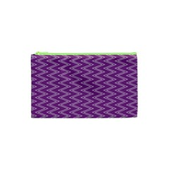 Zig Zag Background Purple Cosmetic Bag (xs)