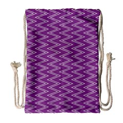 Zig Zag Background Purple Drawstring Bag (Large)