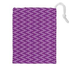 Zig Zag Background Purple Drawstring Pouches (XXL)