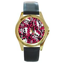 Mattel Monster Pattern Round Gold Metal Watch