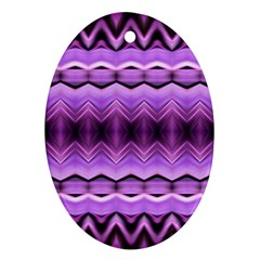 Purple Pink Zig Zag Pattern Ornament (Oval)