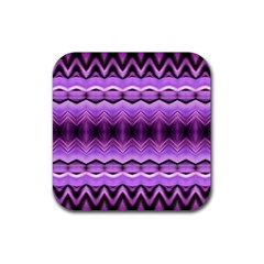 Purple Pink Zig Zag Pattern Rubber Square Coaster (4 Pack)