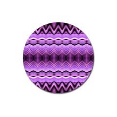 Purple Pink Zig Zag Pattern Magnet 3  (round)