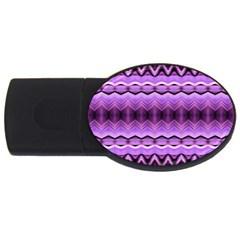 Purple Pink Zig Zag Pattern USB Flash Drive Oval (2 GB)