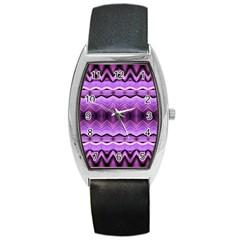 Purple Pink Zig Zag Pattern Barrel Style Metal Watch