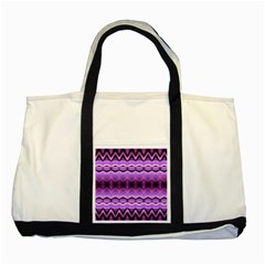 Purple Pink Zig Zag Pattern Two Tone Tote Bag