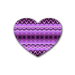 Purple Pink Zig Zag Pattern Heart Coaster (4 Pack)