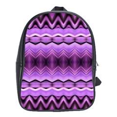 Purple Pink Zig Zag Pattern School Bags(Large)