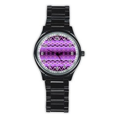 Purple Pink Zig Zag Pattern Stainless Steel Round Watch