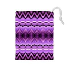 Purple Pink Zig Zag Pattern Drawstring Pouches (large)