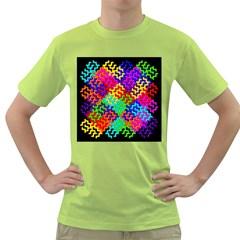 3d Fsm Tessellation Pattern Green T-Shirt