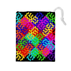 3d Fsm Tessellation Pattern Drawstring Pouches (Large)