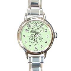 Illustration Of Butterflies And Flowers Ornament On Green Background Round Italian Charm Watch