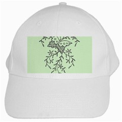 Illustration Of Butterflies And Flowers Ornament On Green Background White Cap