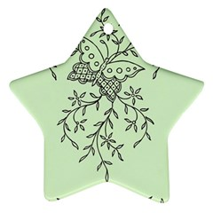 Illustration Of Butterflies And Flowers Ornament On Green Background Ornament (star)