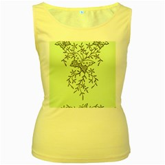 Illustration Of Butterflies And Flowers Ornament On Green Background Women s Yellow Tank Top