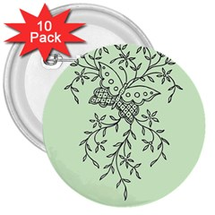 Illustration Of Butterflies And Flowers Ornament On Green Background 3  Buttons (10 Pack)