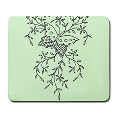 Illustration Of Butterflies And Flowers Ornament On Green Background Large Mousepads