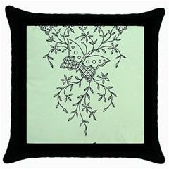 Illustration Of Butterflies And Flowers Ornament On Green Background Throw Pillow Case (black)