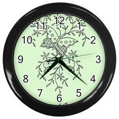 Illustration Of Butterflies And Flowers Ornament On Green Background Wall Clocks (black)