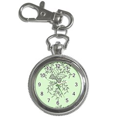 Illustration Of Butterflies And Flowers Ornament On Green Background Key Chain Watches