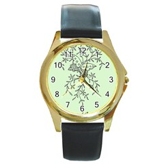 Illustration Of Butterflies And Flowers Ornament On Green Background Round Gold Metal Watch