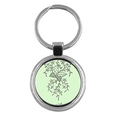 Illustration Of Butterflies And Flowers Ornament On Green Background Key Chains (Round)
