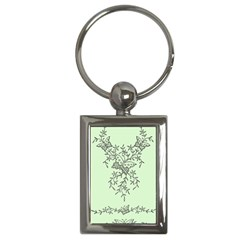 Illustration Of Butterflies And Flowers Ornament On Green Background Key Chains (Rectangle)