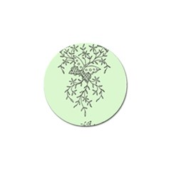 Illustration Of Butterflies And Flowers Ornament On Green Background Golf Ball Marker