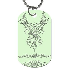 Illustration Of Butterflies And Flowers Ornament On Green Background Dog Tag (two Sides)