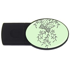 Illustration Of Butterflies And Flowers Ornament On Green Background USB Flash Drive Oval (2 GB)