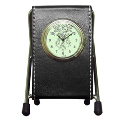 Illustration Of Butterflies And Flowers Ornament On Green Background Pen Holder Desk Clocks