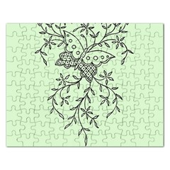 Illustration Of Butterflies And Flowers Ornament On Green Background Rectangular Jigsaw Puzzl