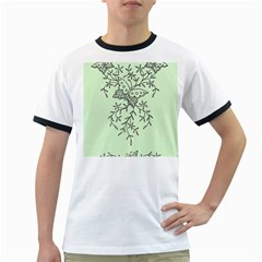 Illustration Of Butterflies And Flowers Ornament On Green Background Ringer T Shirts