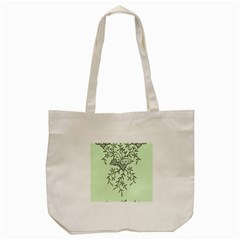 Illustration Of Butterflies And Flowers Ornament On Green Background Tote Bag (cream)