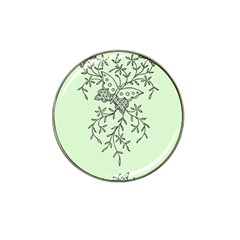 Illustration Of Butterflies And Flowers Ornament On Green Background Hat Clip Ball Marker
