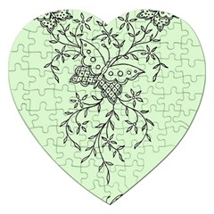 Illustration Of Butterflies And Flowers Ornament On Green Background Jigsaw Puzzle (heart)