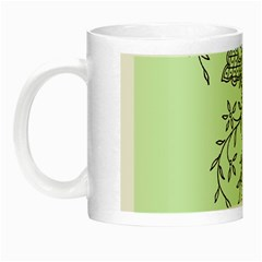 Illustration Of Butterflies And Flowers Ornament On Green Background Night Luminous Mugs