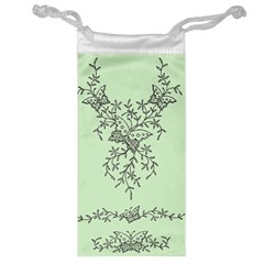 Illustration Of Butterflies And Flowers Ornament On Green Background Jewelry Bag