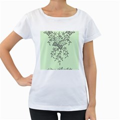 Illustration Of Butterflies And Flowers Ornament On Green Background Women s Loose Fit T Shirt (white)