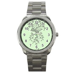 Illustration Of Butterflies And Flowers Ornament On Green Background Sport Metal Watch