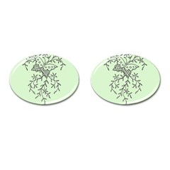 Illustration Of Butterflies And Flowers Ornament On Green Background Cufflinks (oval)