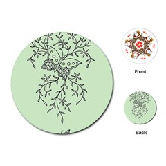 Illustration Of Butterflies And Flowers Ornament On Green Background Playing Cards (Round)